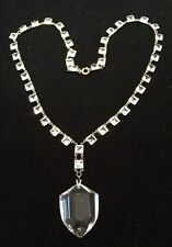 ART DECO STERLING SQUARE OPEN BACK CRYSTAL & SHIELD PRISM PENDANT NECKLACE