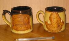 2 WILLIAM ShaKesPeare Themed Mugs Cups Rare THEATRE ART book play hamlet macbeth
