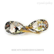 Earrings 24 K Gold Plated Drops- 22mm - with Swarovski Elements- Crystal CAL