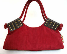 SR SQUARED by SONDRA ROBERTS RED NYLON ROOMY BOHO HOBO TOTE SHOULDER BAG HANDBAG