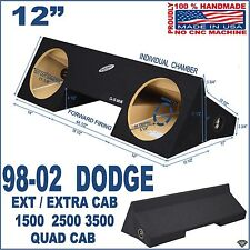 "98-02 DODGE RAM EXT EXTENDED CAB 12"" SUB BOX SUBWOOFER ENCLOSURE GROUND-SHAKER"