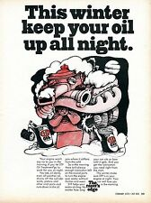1970 STP Oil Treatment The Racer's Edge Winter Up All Night Print Ad