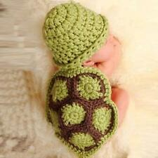 Green Baby Newborn Turtle Knit Crochet Clothes Beanie Hat Outfit Photo Props