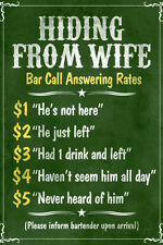Hiding From Wife Bar Phone Fees Plastic Sign  - 12x18