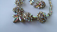 Vintage Signed Sherman Aurora Borealis Swarovski Crystal Necklace & Earrings Set