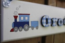 Children's bedroom door sign name plaque blue white gingham with train