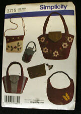 SIMPLICITY SEWING PATTERN 3715, WASHED FELT ACCESSORIES & FELTED BAGS - UNCUT