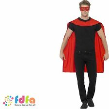 RED SUPER HERO MID LENGTH CAPE & EYEMASK Adult Ladies Mens Fancy Dress Costume