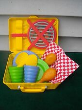 FISHER PRICE FUN WITH FOOD PICNIC BASKET NAPKINS PLATES CUPS GRILL TONGS LOADED