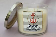 NEW 1 SUMMER BOARDWALK BATH & BODY WORKS 3-WICK LARGE FILLED HOME 14.5 OZ CANDLE