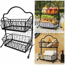 2 Tier Wrought Iron Wire Basket Storage Fruit Rack Holder Kitchen Bath Organizer