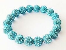 SPARKLY STRETCHY BLUE SHAMBALLA BRACELET- 20 x 10mm DISCO BEADS-CZECH CRYSTAL-UK