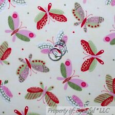 BonEful FABRIC FQ Cotton Quilt Pink Green Cream Butterfly Dot Breast Cancer Girl