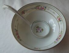 ANTIQUE JAPANESE NIPPON HAND PAINTED GRAVY OR MAYONNAISE BOWL & LADLE