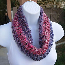 SUMMER COWL SCARF Bright Pink, Purple, Small Short Handmade Crochet, Neck Warmer