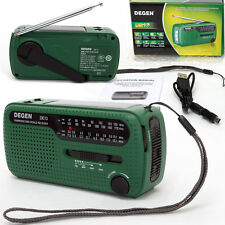 Original Degen DE13 AM FM SW  Crank Dynamo Solar Powered World Receiver Radio