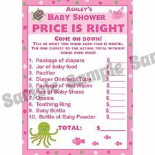 24 Baby Shower Price is Right Game Cards   UNDER THE SEA in PINKS