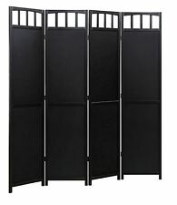 4-panel Screen Room Divider Solid Wood, Black, Walnut or White Color