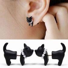 1Pc Black Punk Cool Simple 3D  Cat Kitten Lady Front Back Ear Stud Earring