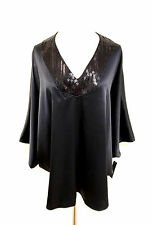 NATORI NATORIous Black Silk Sequined V-Neckline Circle Blouse Tunic SzM