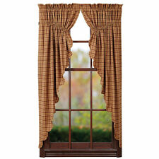 New Country Primitive Rustic Wine Tan Burgundy PRAIRIE SWAGS Window Curtain
