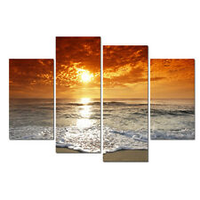 Large-beach-sea-sunset-sky-water-landscape Canvas wall art print  4 PANEL