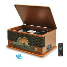 vRetro Style Bluetooth 3 Speeds Turntable w/ AM/FM CD & Cassette Tape Playe