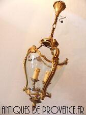 Rare Superbe Suspension Lanterne 2feux plafonnier lustre Bronze doré Verre galbé