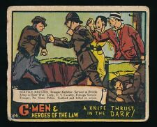 1935 R60 Gum Inc. (No Copyright) G-MEN & HEROES #24 Knife Thrust in Dark