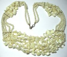 VINTAGE Jewellery Natural Stone Mother of Pearl MOP BEAD Graduated Drop NECKLACE
