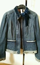 TED BAKER JEANS DENIM ZIPPED JUCKET WITH FEMININE BOW DETAIL SIZE 1 (UK 8)