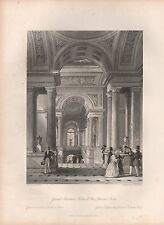 1850 PRINT - ALLOM - FRANCE- GRAND STAIRCASE, PALACE OF THE LOUVRE, PARIS