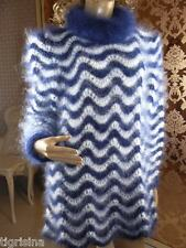 Mohair Hand Knitted Fluffy Navy/ White Tunic Pullover Sweater Jumper;  L - XL
