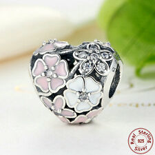 Mixed Enamels & Clear CZ .925 Sterling Silver Poetic Blooms Charm Pendant