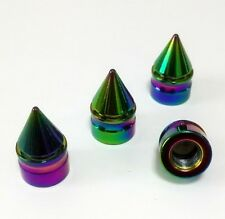Neo Chrome Rainbow Spike Tyre Wheel Valve Bullet Dust Caps x4 Car Bike BMX Blox