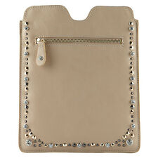 NWT NEW ALDO NUDE FAUX LEATHER GOLD DIAMANTE STUD IPAD TABLET CASE WALLET COVER