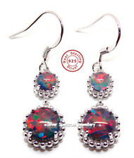 Sterling Silver Black Fire Opal 5.52ct Drop Earring (925)
