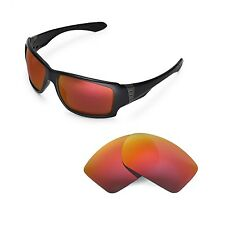 New Walleva Polarized Fire Red Replacement Lenses For Oakley Big Taco Sunglasses
