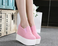 Fashion Women's Canvas High Platform Wedge Heel Creeper Slip On Sneakers Shoes