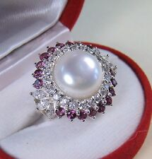12.5 MM PEARL & 2.33 CTW RHODOLITE/SAPPHIRE RING sz 7 WHITE GOLD/STERLING SILVER