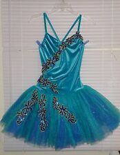 ART STONE Ballerinas TURQUOISE Tutu Dress Small Adult Appliquéd Sequins Flowers