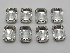 20 Silver Crystal Glass Rectangle Rose Montees 10X14mm Sew on Rhinestones Beads