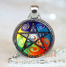 Pentagram Wiccan Cabochon Tibetan silver Glass Chain Pendant Necklace #501