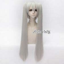 80CM MIKU Silver White Long Straight Full Halloween Vocaloid Anime Cosplay Wig