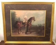 Soldier With Horse Landscaping Gold Framed Print Painting