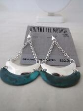 Robert Lee Morris silver tone~green drop earrings , NWT