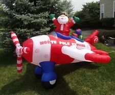 Inflatable Airblown Santa Claus Airplane ANIMATED Propellers Plane 8' Christmas