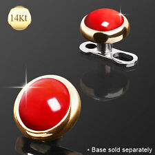 14K Solid GOLD Red Coral Stone Dermal Anchor Top Rings Studs PIERCINGS Jewelry
