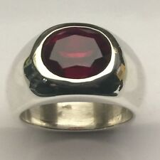MJG STERLING SILVER MEN'S RING @ 23 gr. 12 X 10MM OVAL FACETED LAB GARNET.  S10