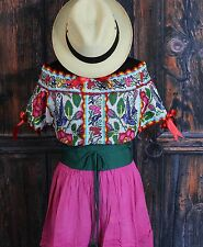 Roses & Blue Birds Hand Embroidered Juquila Blouse Oaxaca Traditional Fiesta